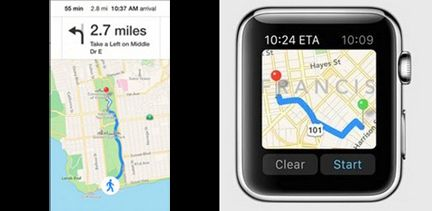 Aplicación de mapas de Apple Watch