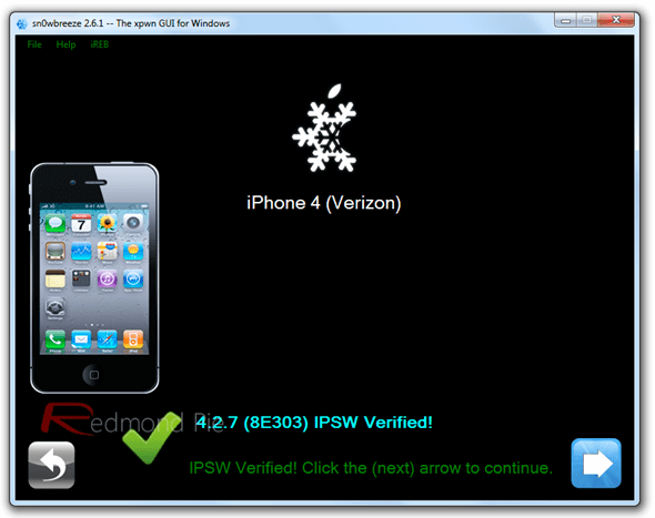 Jailbreak iPhone 4.2.7 para Verizon iPhone 4 (Windows y Mac)