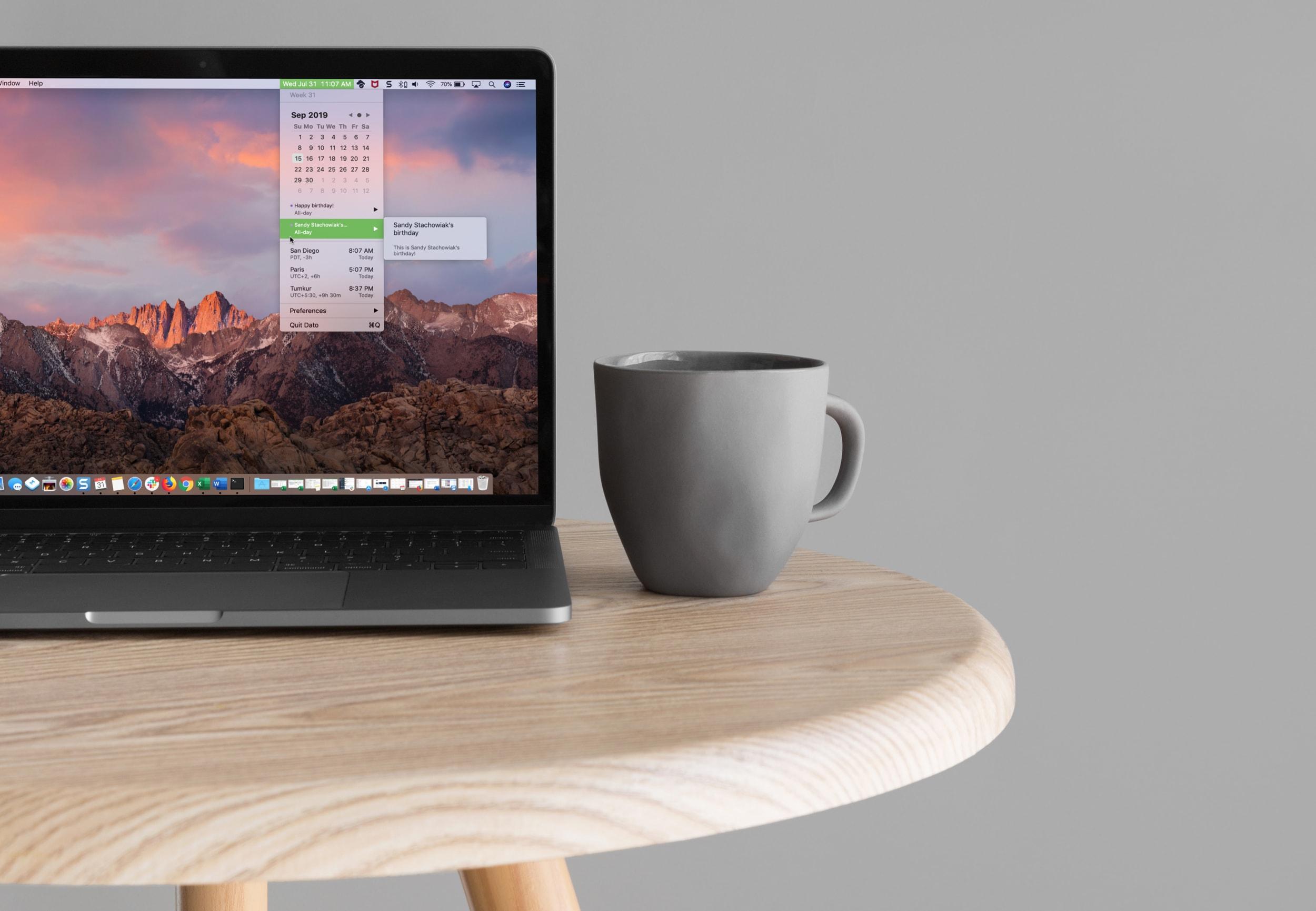 Cómo poner un calendario y zonas horarias en la barra de menú del Mac