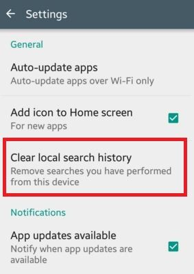 How to clear Google Play store search history android phone